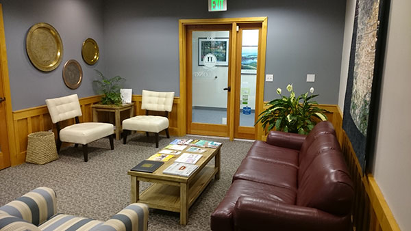 Lobby of dentist office in Silverdale, WA.